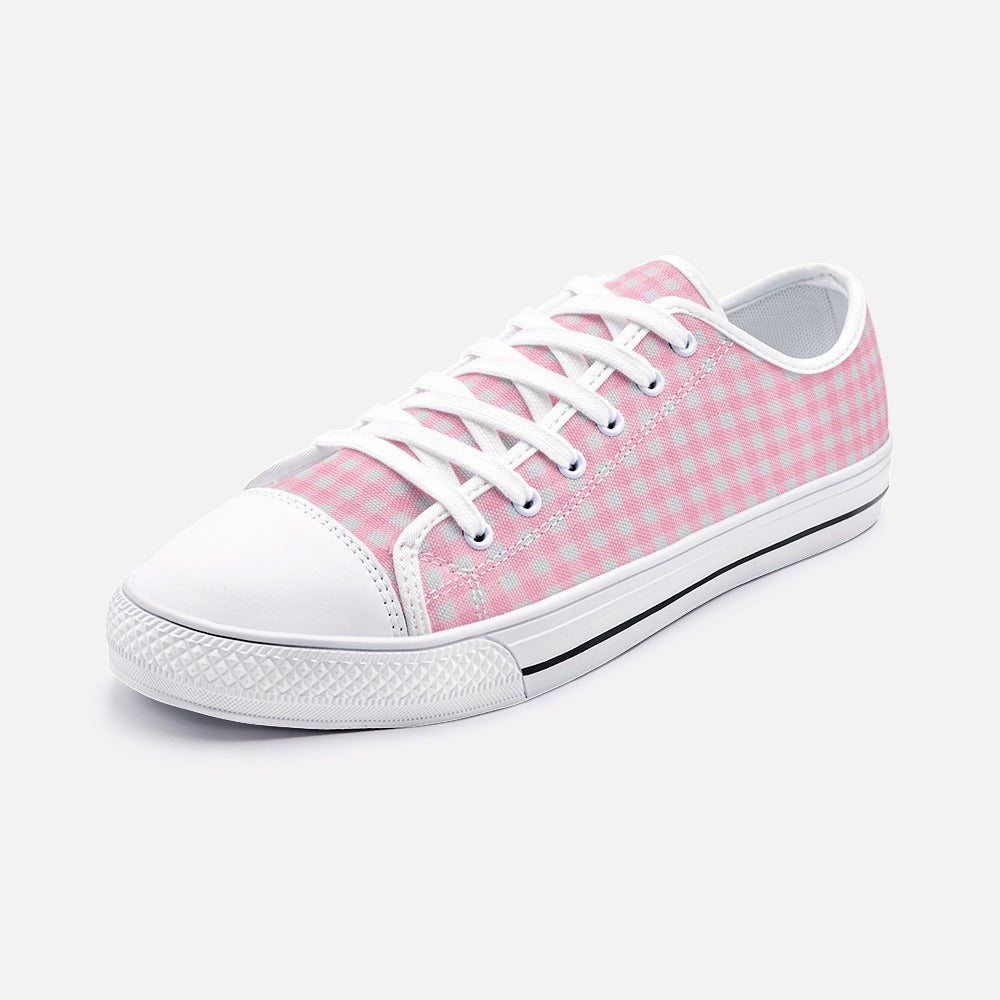 Cute Pink Plaid Womens Low Top Canvas Shoes