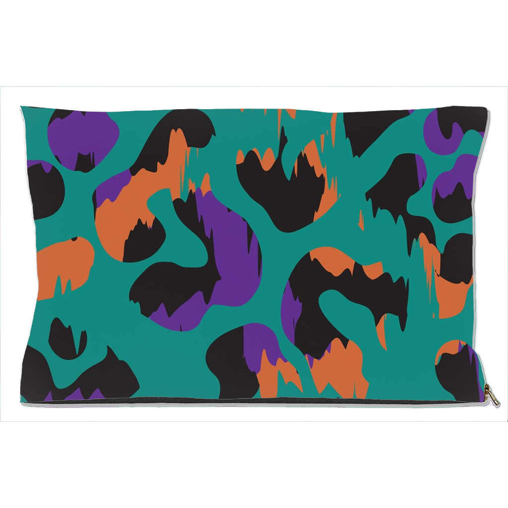Turquoise Camouflage Pattern Dog Bed