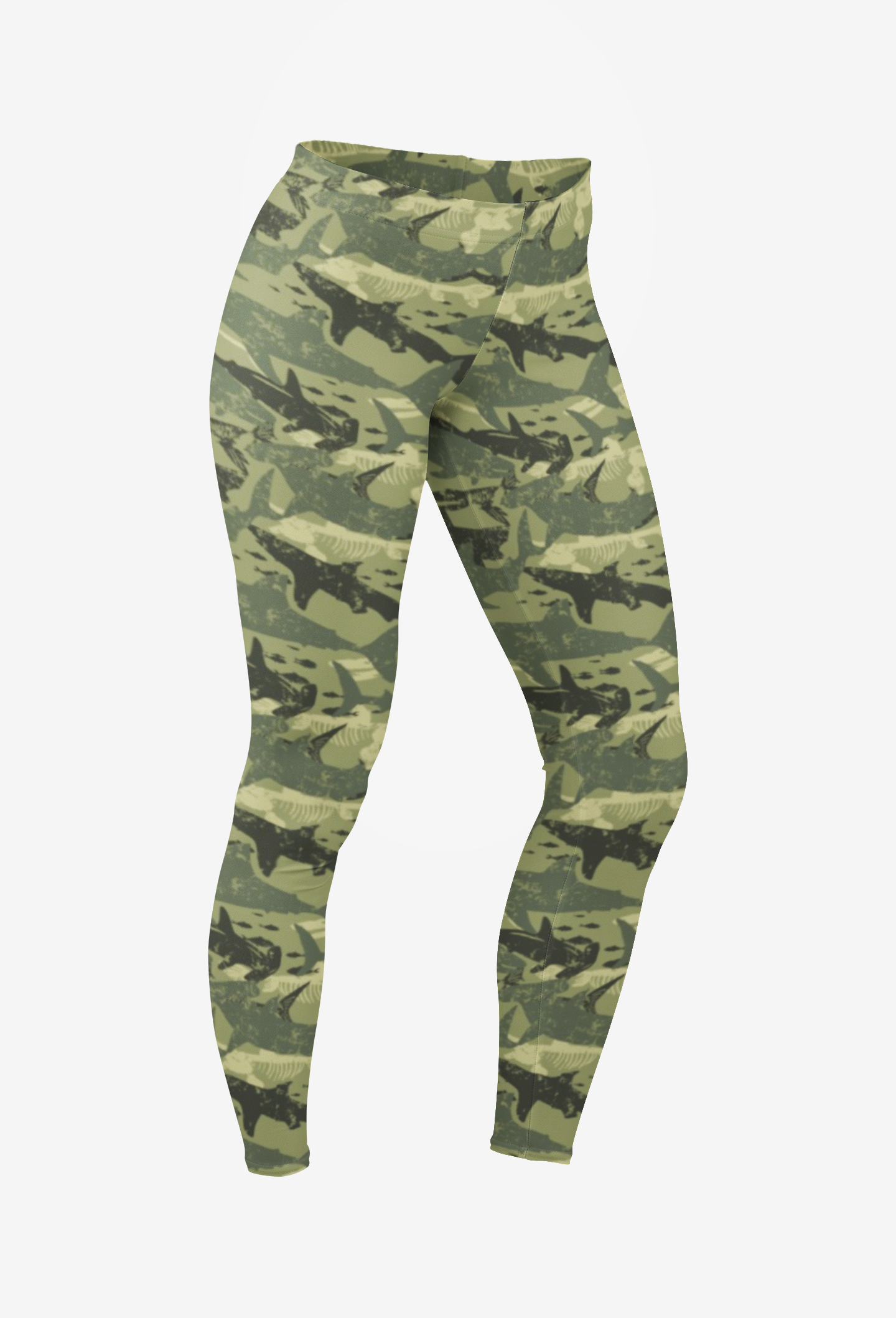 Green Camo Shark Leggings