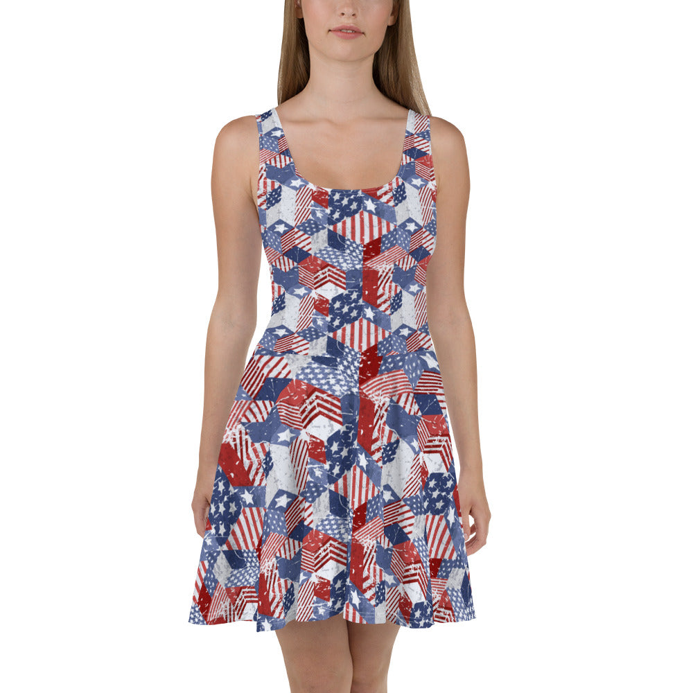 USA Flag Patchwork Skater Dress