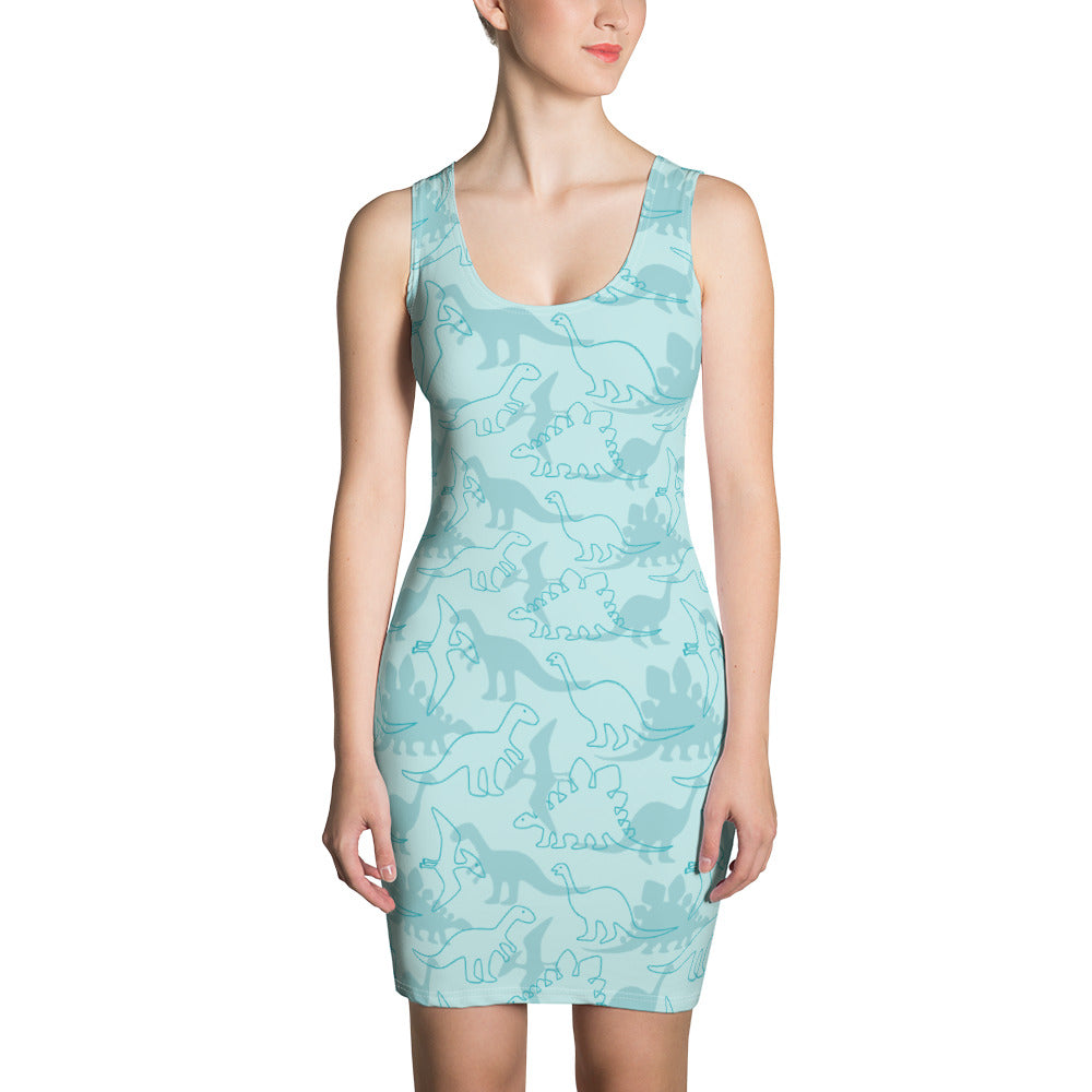 Blue Dinosaur BodyCon Dress