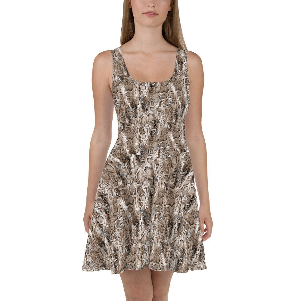 Brown Snake Skater Dress