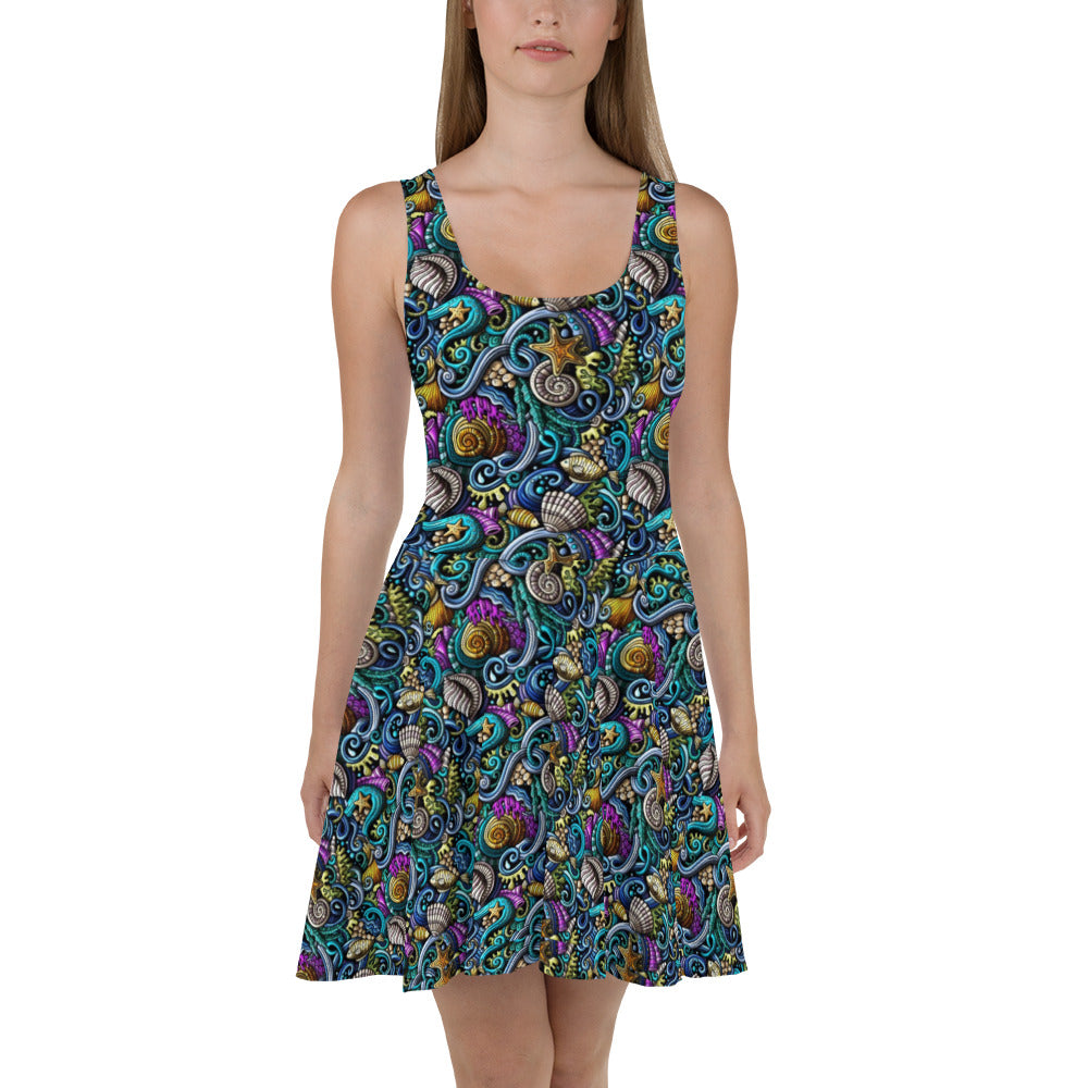 Colorful Sealife Skater Dress