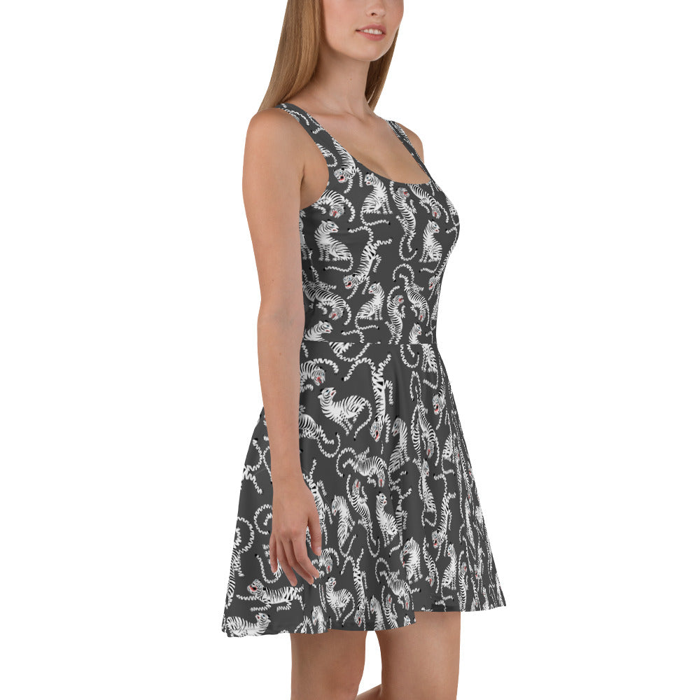 Black Tiger Skater Dress