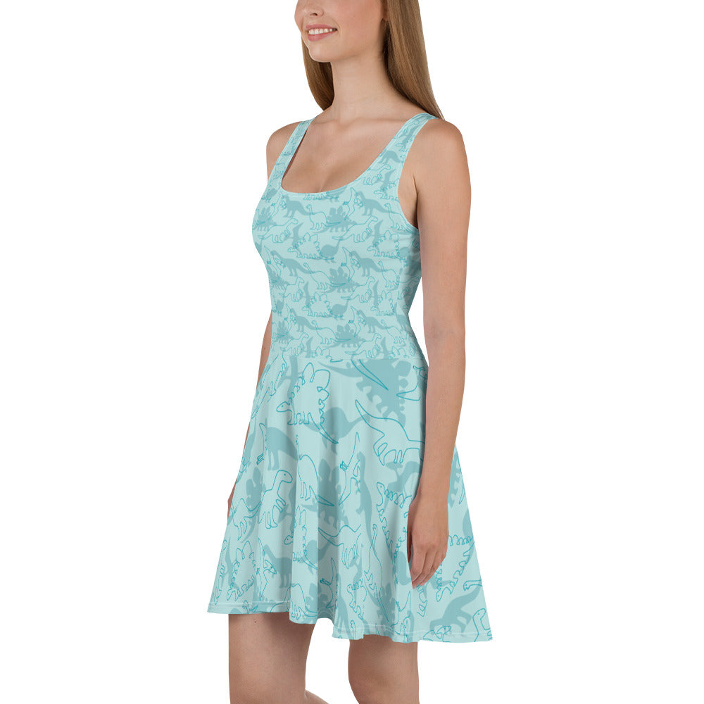 Blue Dinosaur Skater Dress