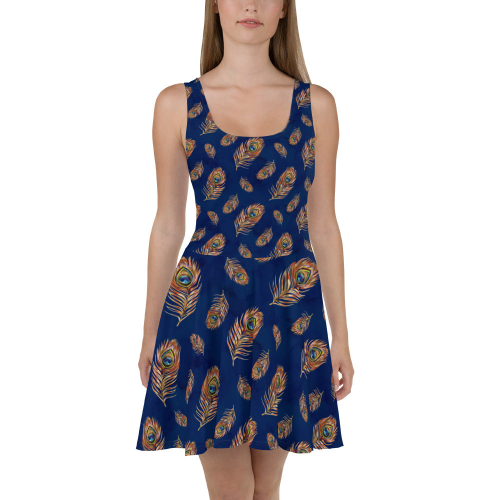 Dark Blue Peacock Skater Dress