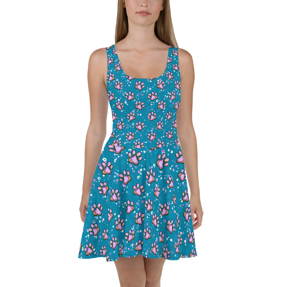 Blue Paw Print Skater Dress