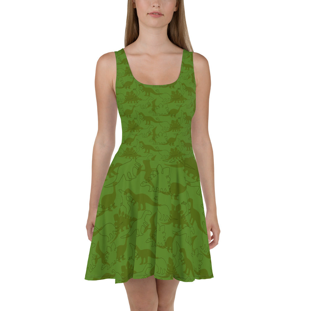 Green Dinosaur Skater Dress