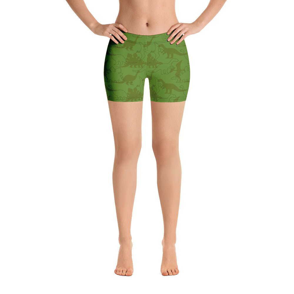 Green Dinosaur Workout Shorts
