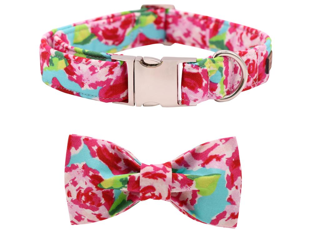 Pink Flower Dog Bowtie Collar