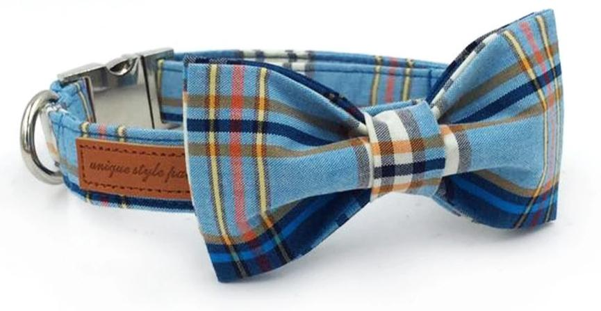 Blue Plaid Dog Collar With Bow Tie