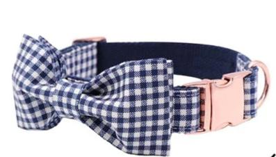 Plaid Dog Collar with Handmade Cotton Bows