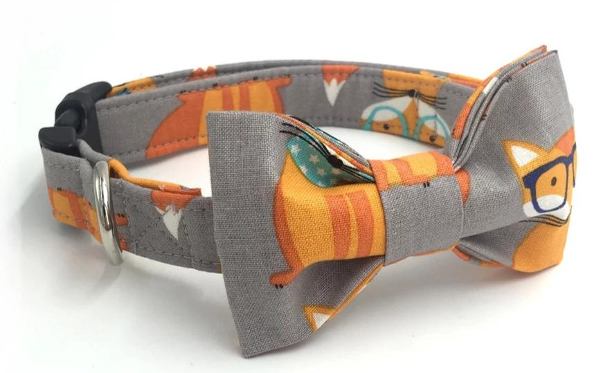 Orange Fox Dog Collar Bowtie