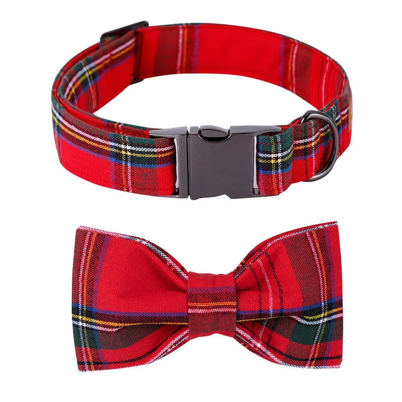 Classic Scottish Plaid Dog Bowtie Dog Collar