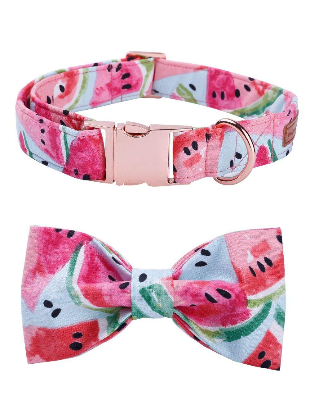 Watermelon Pink Cotton Fabric Dog Collar