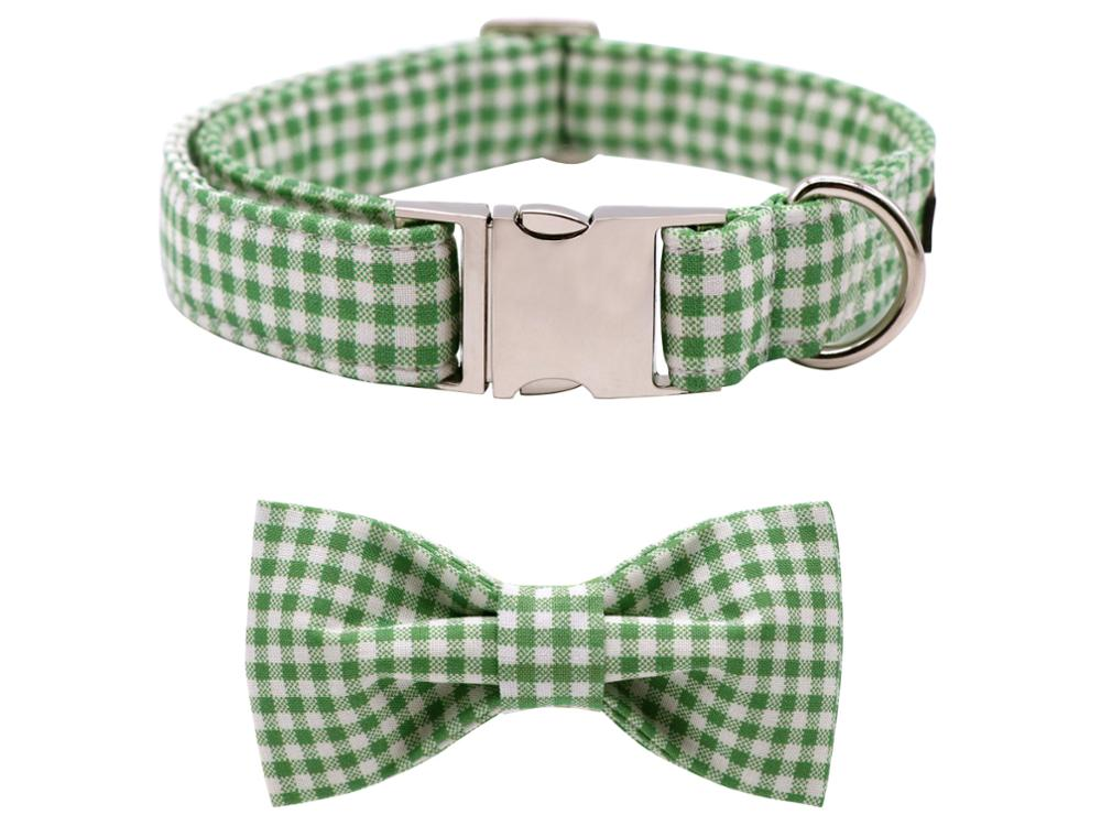 Summer Green Plaid Dog Bowtie Collar