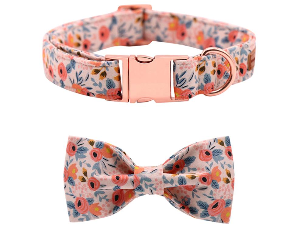 Orange Floral Dog Bowtie Collar