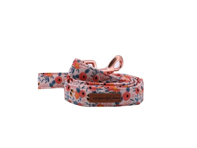 Orange Floral Dog Leash