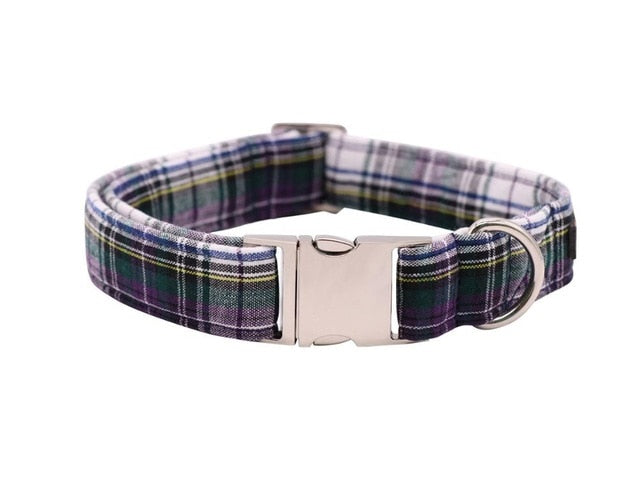 Green Checked Dog Collar