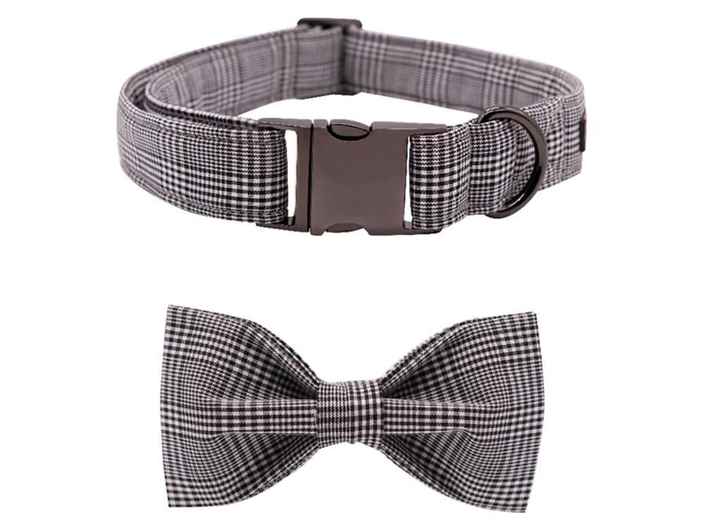 Grey Plaid Bowtie Dog Collar
