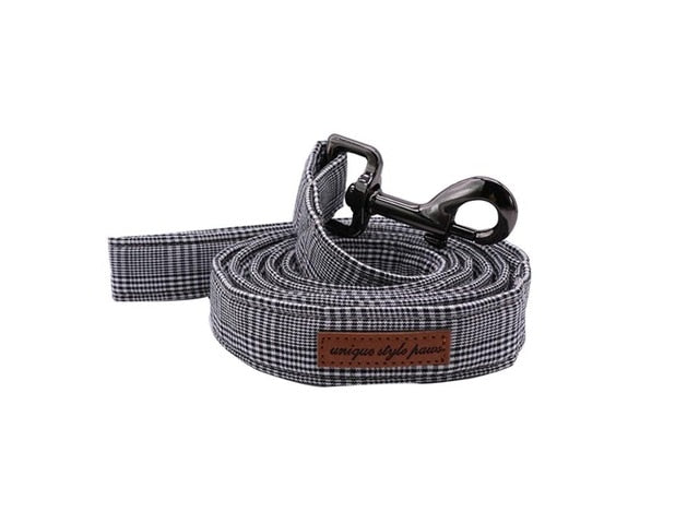 Grey Plaid Dog Leash
