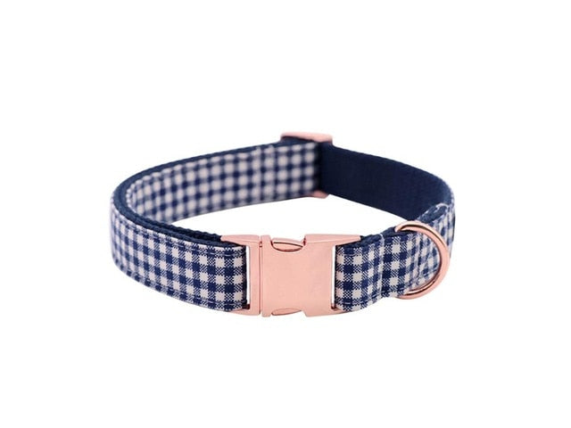 Blue Checked Plaid Dog Collar