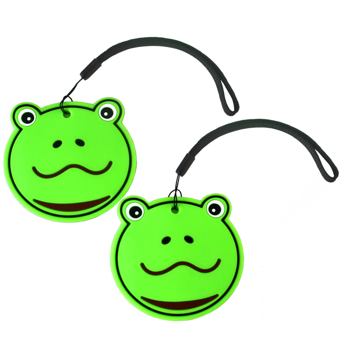 Nido Nest Cute Luggage Tags for Kids - Personalized Bag Tag Girls Boys Set 2 FROG