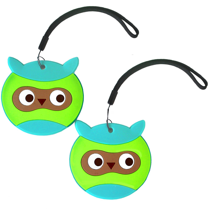 Nido Nest Cute Luggage Tags for Kids - Personalized Bag Tag Girls Boys Set 2 OWL
