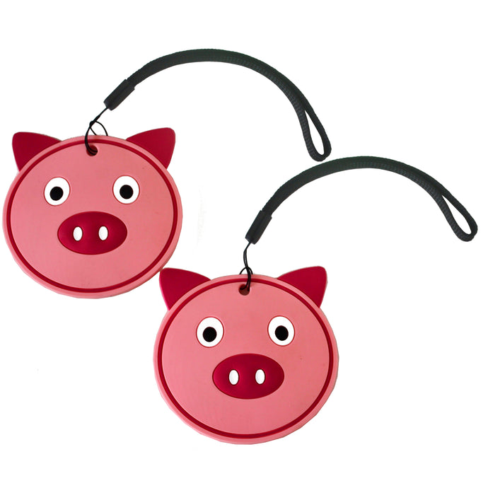 Nido Nest Cute Luggage Tags for Kids - Personalized Bag Tag Girls Boys Set 2 PIG