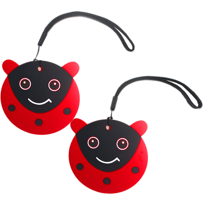 Nido Nest Cute Luggage Tags for Kids - Personalized Bag Tag Girls Boys Set 2 LADYBUG
