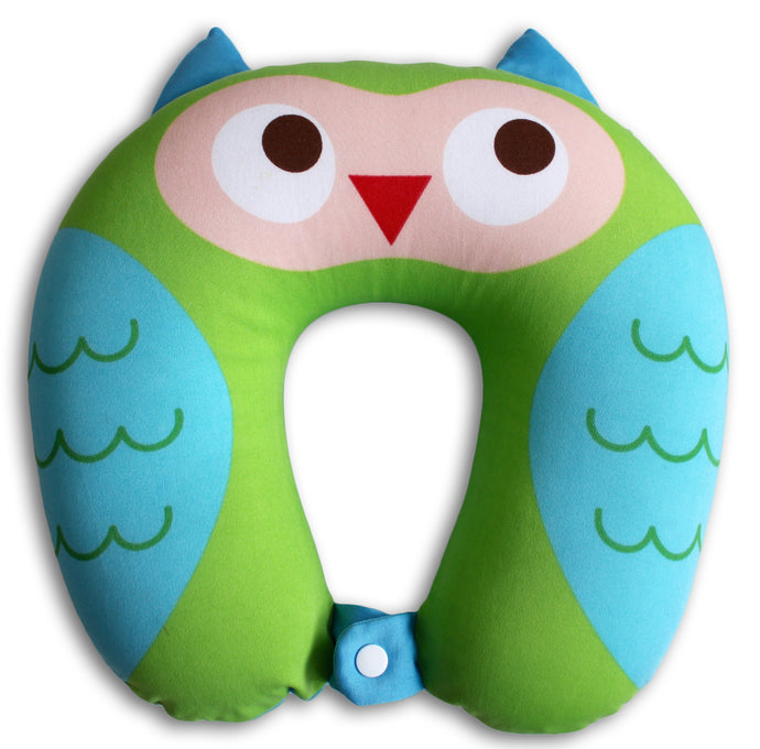 Nido Nest Kids Travel Neck Car Pillow - for Child Toddler Airplane Cars OWL
