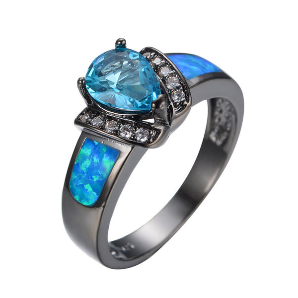 Throne's Charm™ - 10kt Black Gold Synthetic Blue Opal Ring