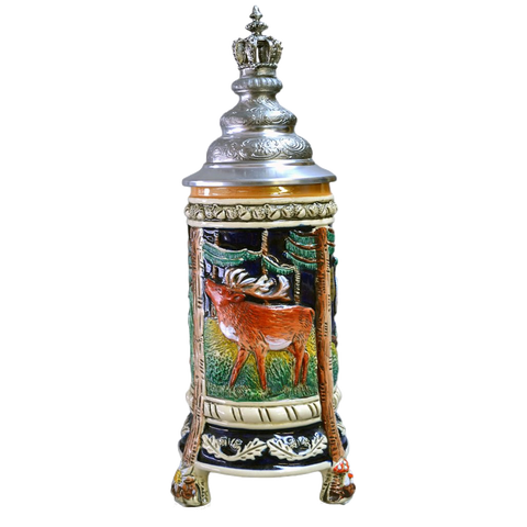 3 Legged Wildlife Stein with Crown Topper - All Steins