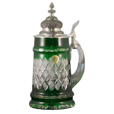 Diamond Cut Green Crystal Stein - All Steins