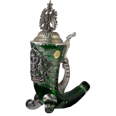 Green Crystal Deutschland Horn with Eagle Lid - All Steins