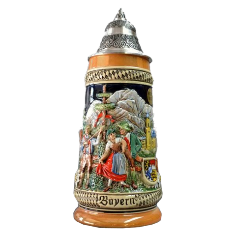 """Bayern"" Stein with Mountain Scene and Dancing Couple - German Beer Steins - All Steins"