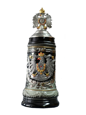 """Deutschland"" Stein with Hand-painted Pewter Eagle - All Steins"