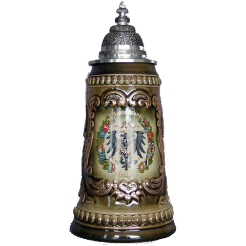 "Brown ""Deutschland"" Stein with Inlaid Picture - All Steins"