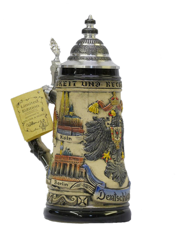 "1/2 Liter ""Deutschland"" Stein with Cities and Coat of Arms - All Steins"