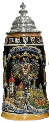1 Liter Deutschland Stein with Cities and Crests - All Steins