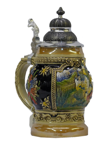 1/2 Liter Barrel Shaped Neuschwanstein Beer Stein - All Steins