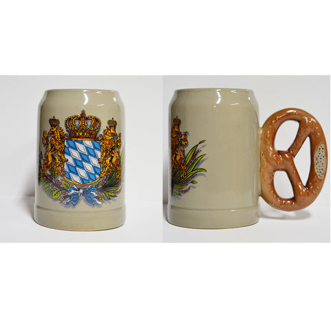 Bavarian Shield Mug with Pretzel Handle