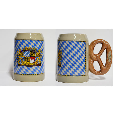 Bayern Crest Mug with Pretzel Handle - All Steins