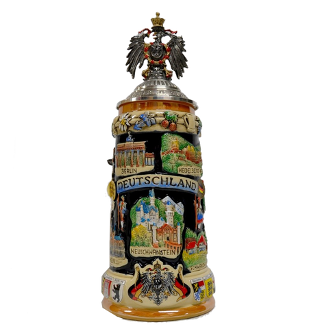 """Deutschland"" Stein with Cities and Eagle Lid - German beer steins - All Steins"