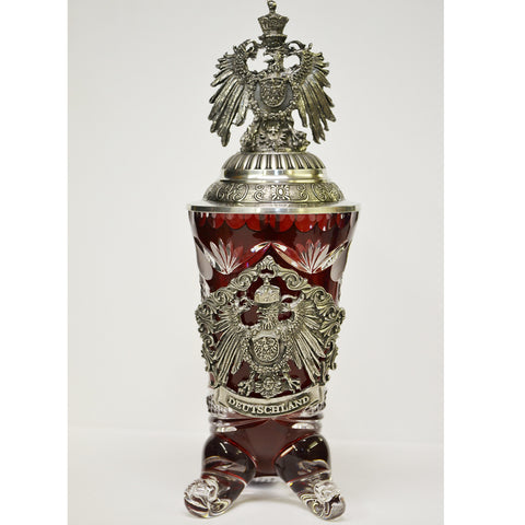 Red Crystal Deutschland Horn with Eagle Lid - All Steins