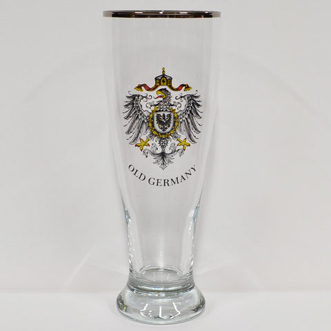 Old Germany Beer Glass with Silver Colored Rim - All Steins