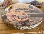 Family Custom Photo Gift on Silver Birch Wood Slice