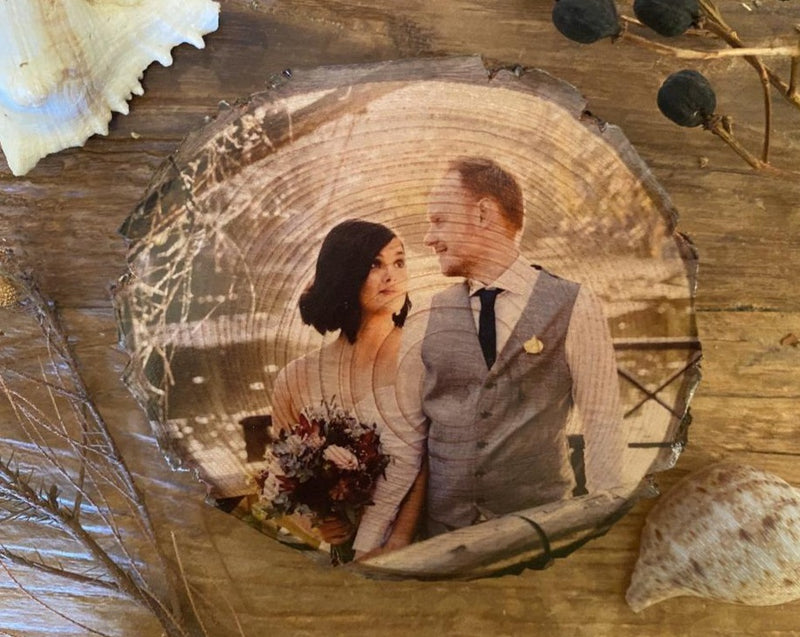 Wedding Gift - Personalised Wood Slice Pine