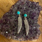 Feather & Stone Stud Earrings