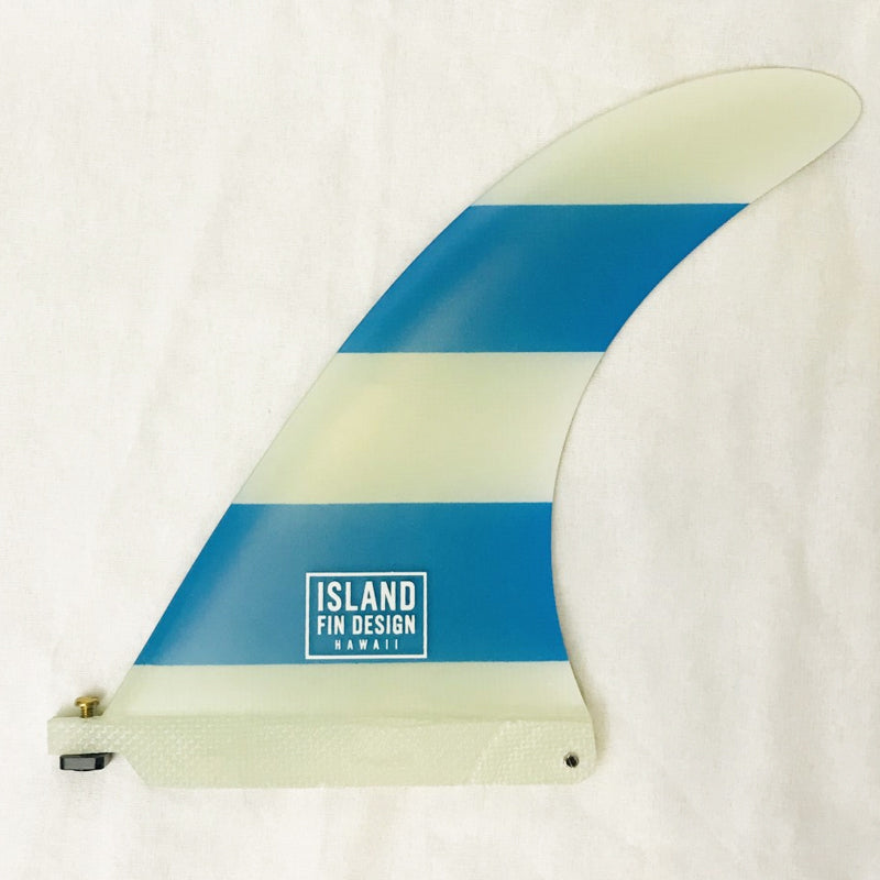"8.5"" MAKAI HWY 83 Island Fin Longboard Single Fin white blue stripe"